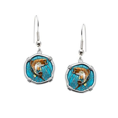 Guy Harvey Bass Wire Dangle Earrings Full Color Enamel Bright Finish 15mm Sterling Silver