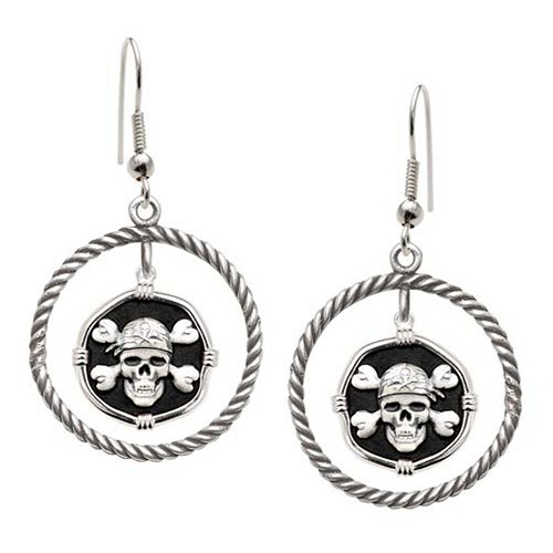 Guy Harvey Pirate Rope Circle Earrings Black Enamel Bright Finish 15mm Sterling Silver