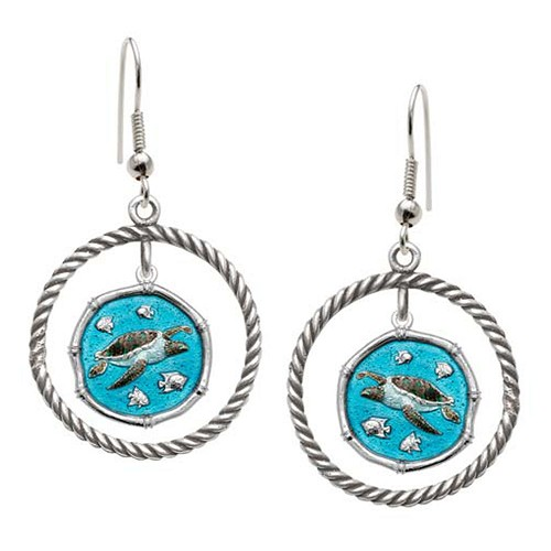 Guy Harvey Sea Turtle Rope Circle Earrings Full Color Enamel Bright Finish 15mm Sterling Silver