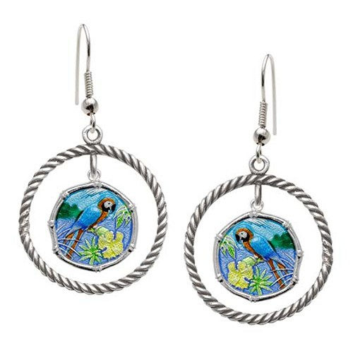 Guy Harvey Macaw Rope Circle Earrings Full Color Enamel Bright Finish 15mm Sterling Silver