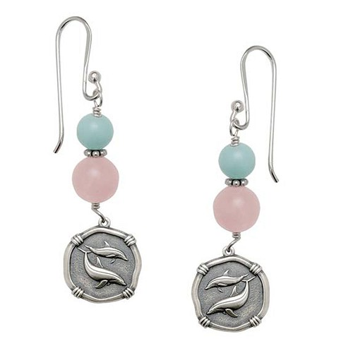 Porpoises Rose Quartz Earrings Relic Finish 15mm Sterling Silver