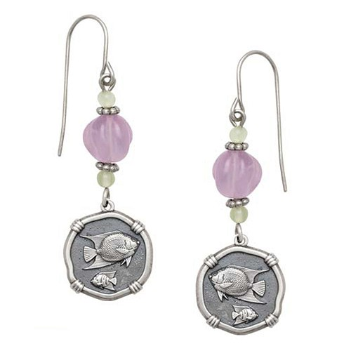 Angelfish Lavender & Green Quartz Earrings Relic Finish 15mm Sterling Silver