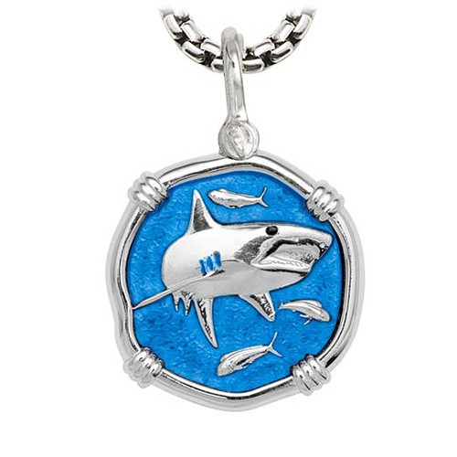Shark on Heavy Box Necklace Caribbean Blue Enamel Bright Finish 35mm Sterling Silver