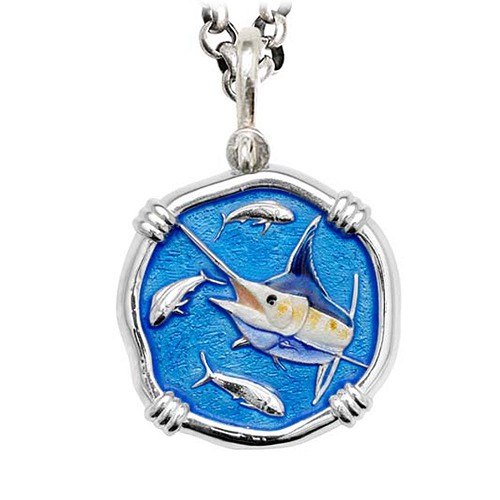 Marlin on Rolo Necklace Full Color Enamel Bright Finish 35mm Sterling Silver