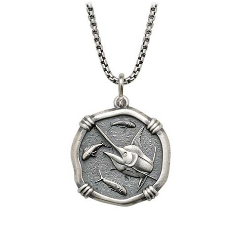 Medium size Sterling Silver Marlin Necklace with Sterling Silver Box Chain