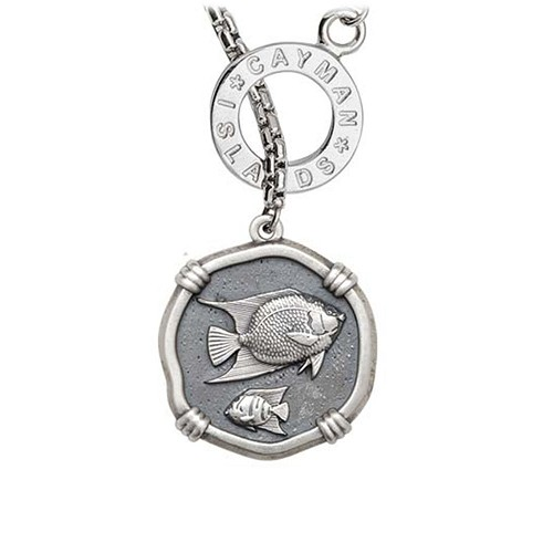 Guy Harvey Angelfish on Lariat Style Box Necklace Relic Finish 25mm Sterling Silver