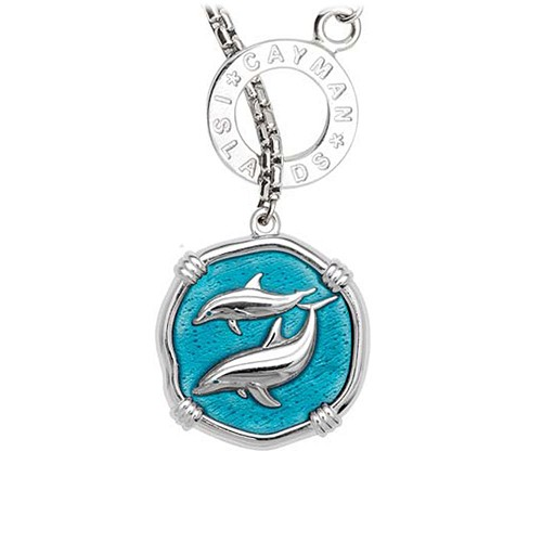 Guy Harvey Porpoises on Lariat Style Box Necklace Cayman Green Enamel 25mm Sterling Silver