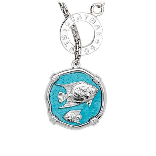 Guy Harvey Angelfish on Lariat Style Box Necklace Cayman Green Enamel 25mm Sterling Silver
