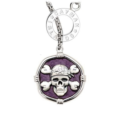 Guy Harvey Pirate on Lariat Style Box Necklace Purple Enamel Bright Finish 25mm Sterling Silver