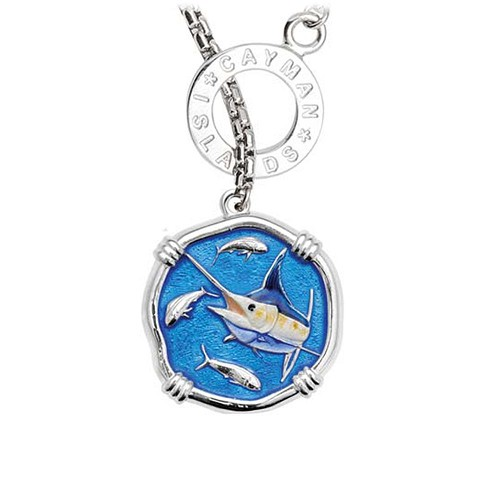 Guy Harvey Marlin on Lariat Style Box Necklace Full Color Enamel Bright Finish 25mm Sterling Silver