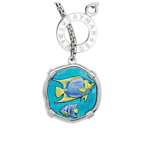 Guy Harvey Angelfish on Lariat Style Box Necklace Full Color Enamel 25mm Sterling Silver