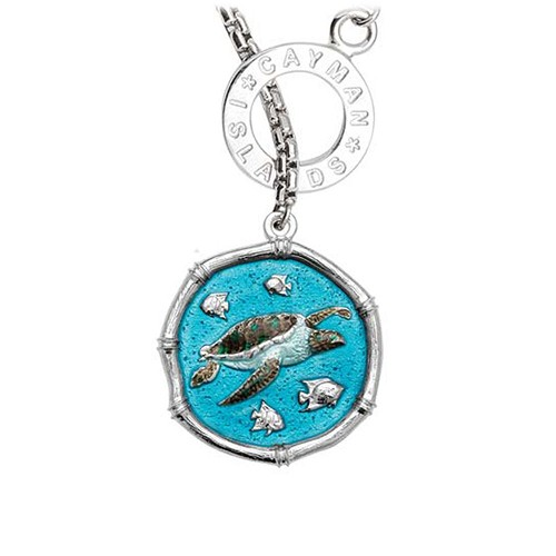 Guy Harvey Sea Turtle on Lariat Style Box Necklace Full Color Enamel 25mm Sterling Silver