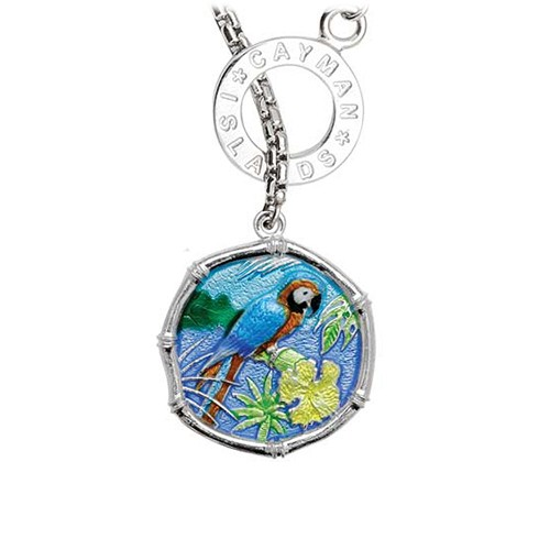 Guy Harvey Macaw on Lariat Style Box Necklace Full Color Enamel Bright Finish 25mm Sterling Silver