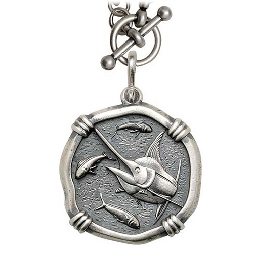Guy Harvey Large Size Sterling Silver Marlin Necklace with Sterling Silver Heavy Link Chain