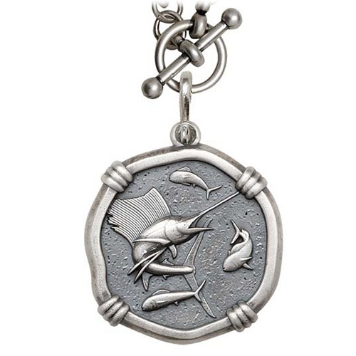 Guy Harvey Sailfish on Heavy Link Necklace Relic Finish 35mm Sterling Silver
