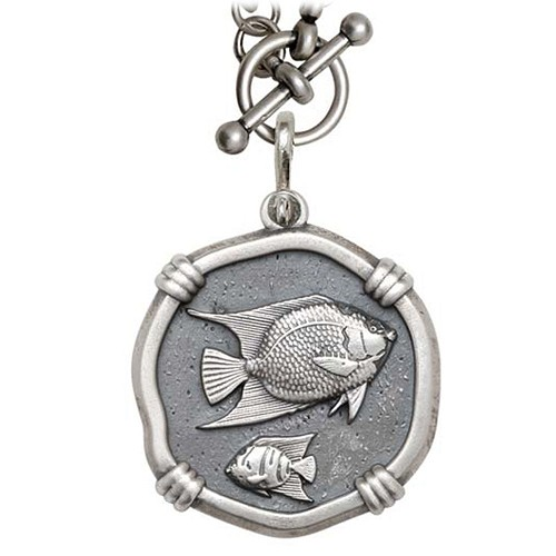 Guy Harvey Angelfish on Heavy Link Necklace Relic Finish 35mm Sterling Silver