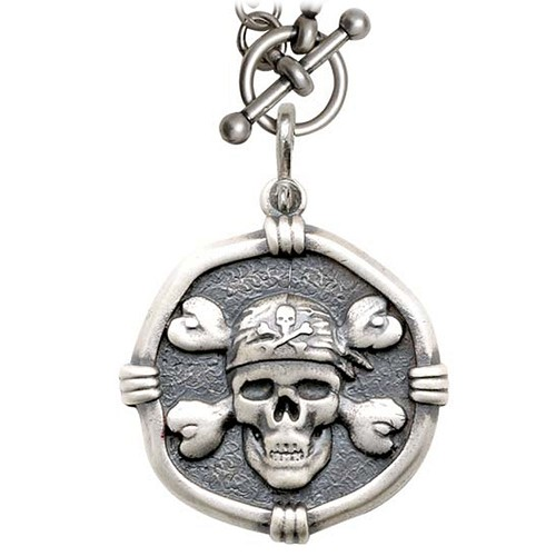Guy Harvey Pirate on Heavy Link Necklace Relic Finish 35mm Sterling Silver