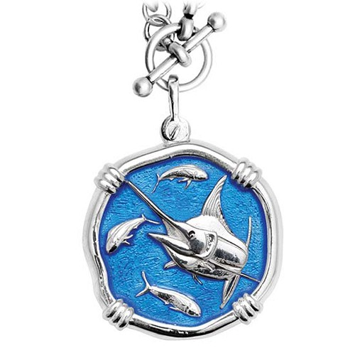 Guy Harvey Marlin on Heavy Link Necklace Caribbean Blue Enamel Bright Finish 35mm Sterling Silver