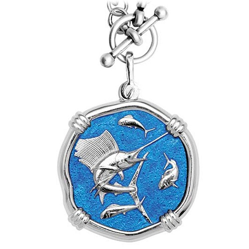 Guy Harvey Sailfish on Heavy Link Necklace Caribbean Blue Enamel Bright Finish 35mm Sterling Silver