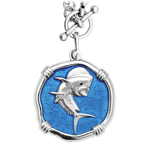 Guy Harvey Dolphin on Heavy Link Necklace Caribbean Blue Enamel Bright Finish 35mm Sterling Silver