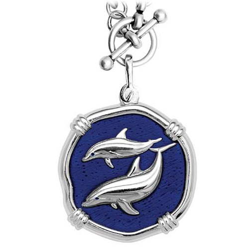 Guy Harvey Porpoises on Heavy Link Necklace Gulf Stream Blue Enamel 35mm Sterling Silver
