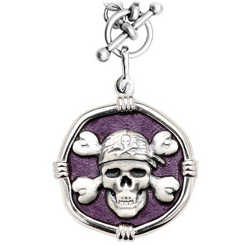 Guy Harvey Pirate on Heavy Link Necklace Purple Enamel Bright Finish 35mm Sterling Silver
