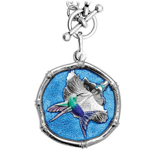 Guy Harvey Hummingbird Sterling Silver on Heavy Link Necklace Full Color Blue Enamel