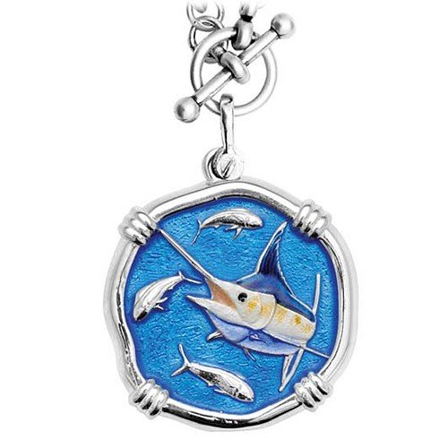 Guy Harvey Marlin on Heavy Link Necklace Full Color Enamel Bright Finish 35mm Sterling Silver