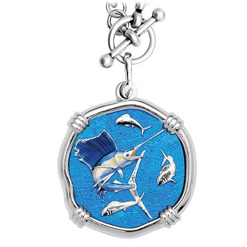 Guy Harvey Sailfish on Heavy Link Necklace Full Color Enamel Bright Finish 35mm Sterling Silver