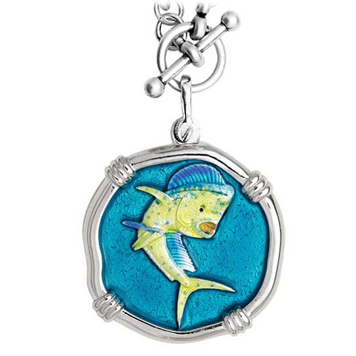 Guy Harvey Dolphin on Heavy Link Necklace Full Color Enamel Bright Finish 35mm Sterling Silver