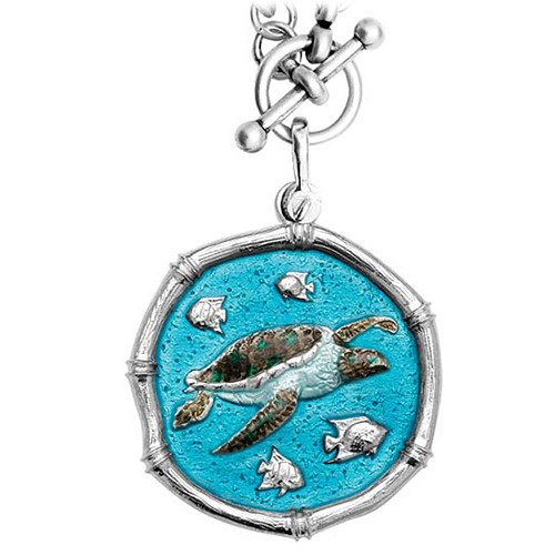 Guy Harvey Sea Turtle on Heavy Link Necklace Full Color Enamel Bright Finish 35mm Sterling Silver