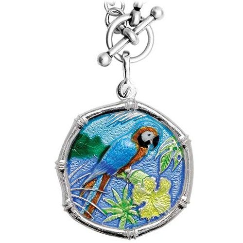Guy Harvey Macaw on Heavy Link Necklace Full Color Enamel Bright Finish 35mm Sterling Silver