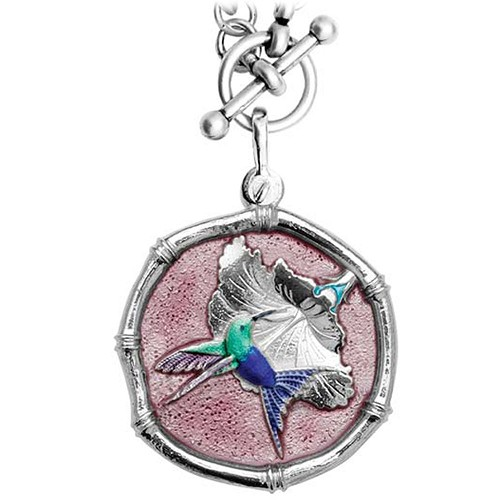Guy Harvey Hummingbird Sterling Silver on Heavy Link Necklace Full Color Pink Enamel