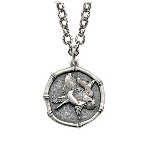 Hummingbird Sterling Silver on Circle Necklace Relic Finish 25mm Sterling Silver
