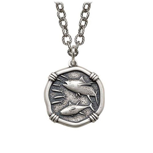 Tuna on Circle Necklace Relic Finish 25mm Sterling Silver