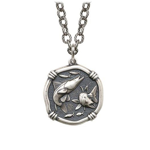Snook on Circle Necklace Relic Finish 25mm Sterling Silver