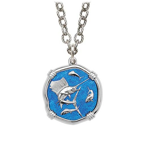 Sailfish on Circle Necklace Caribbean Blue Enamel Bright Finish 25mm Sterling Silver
