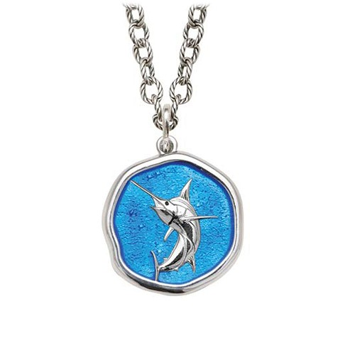 Marlin on Circle Necklace Caribbean Blue Enamel Bright Finish 25mm Sterling Silver