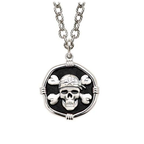 Pirate on Circle Necklace Black Enamel Bright Finish 25mm Sterling Silver