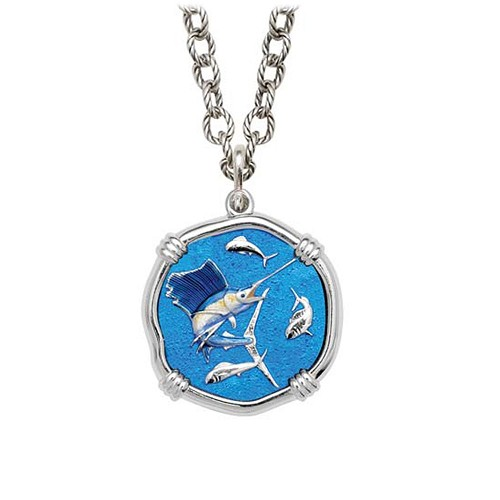 Sailfish on Circle Necklace Full Color Enamel Bright Finish 25mm Sterling Silver