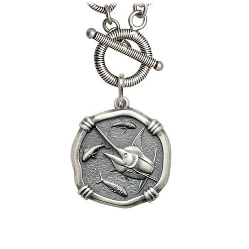 Guy Harvey Medium ize MarlinSterling Silver Necklace with Sterling Silver Toggle Link Chain