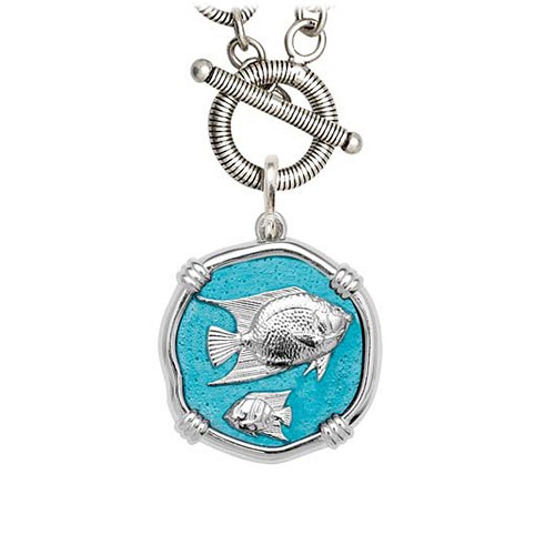 Guy Harvey Angelfish on Link Toggle Necklace Cayman Green Enamel Bright Finish 25mm Sterling Silver