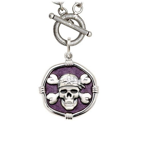 Guy Harvey Pirate on Link Toggle Necklace Purple Enamel Bright Finish 25mm Sterling Silver