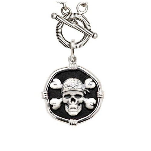 Guy Harvey Pirate on Link Toggle Necklace Black Enamel Bright Finish 25mm Sterling Silver