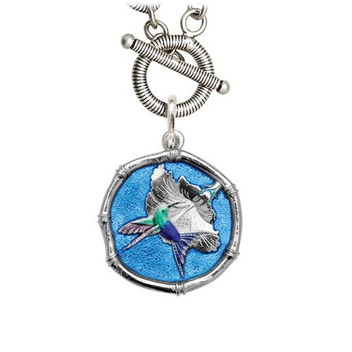 Guy Harvey Hummingbird Sterling Silver on Link Toggle Necklace Full Color Blue 25mm Sterling Silver