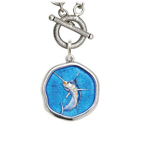 Guy Harvey Marlin on Link Toggle Necklace Full Color Enamel Bright Finish 25mm Sterling Silver