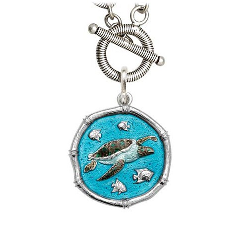 Guy Harvey Sea Turtle on Link Toggle Necklace Full Color Enamel Bright Finish 25mm Sterling Silver