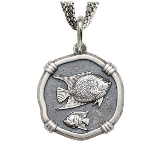 Angelfish on Five Strand Necklace Relic Finish 35mm Sterling Silver