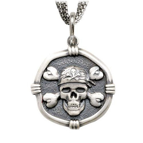 Pirate on Five Strand Necklace Relic Finish 35mm Sterling Silver