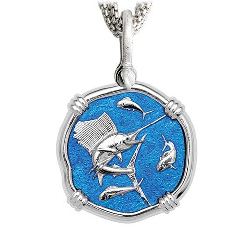 Sailfish on Five Strand Necklace Caribbean Blue Enamel Bright Finish 35mm Sterling Silver